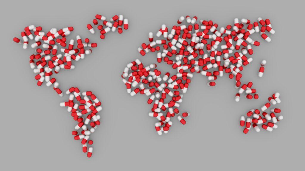 world, map, pills